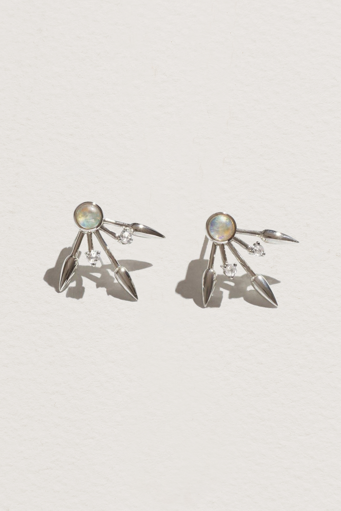 Beam Earrings in Moonstone & Topaz