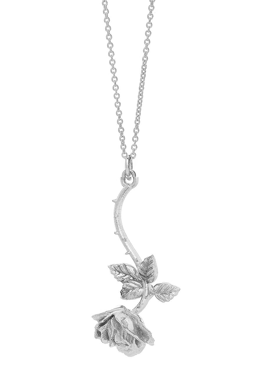 Hanging Rose Pendant in Sterling Silver