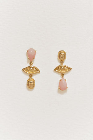 Teardrop Earrings in Gold & Pink Opal
