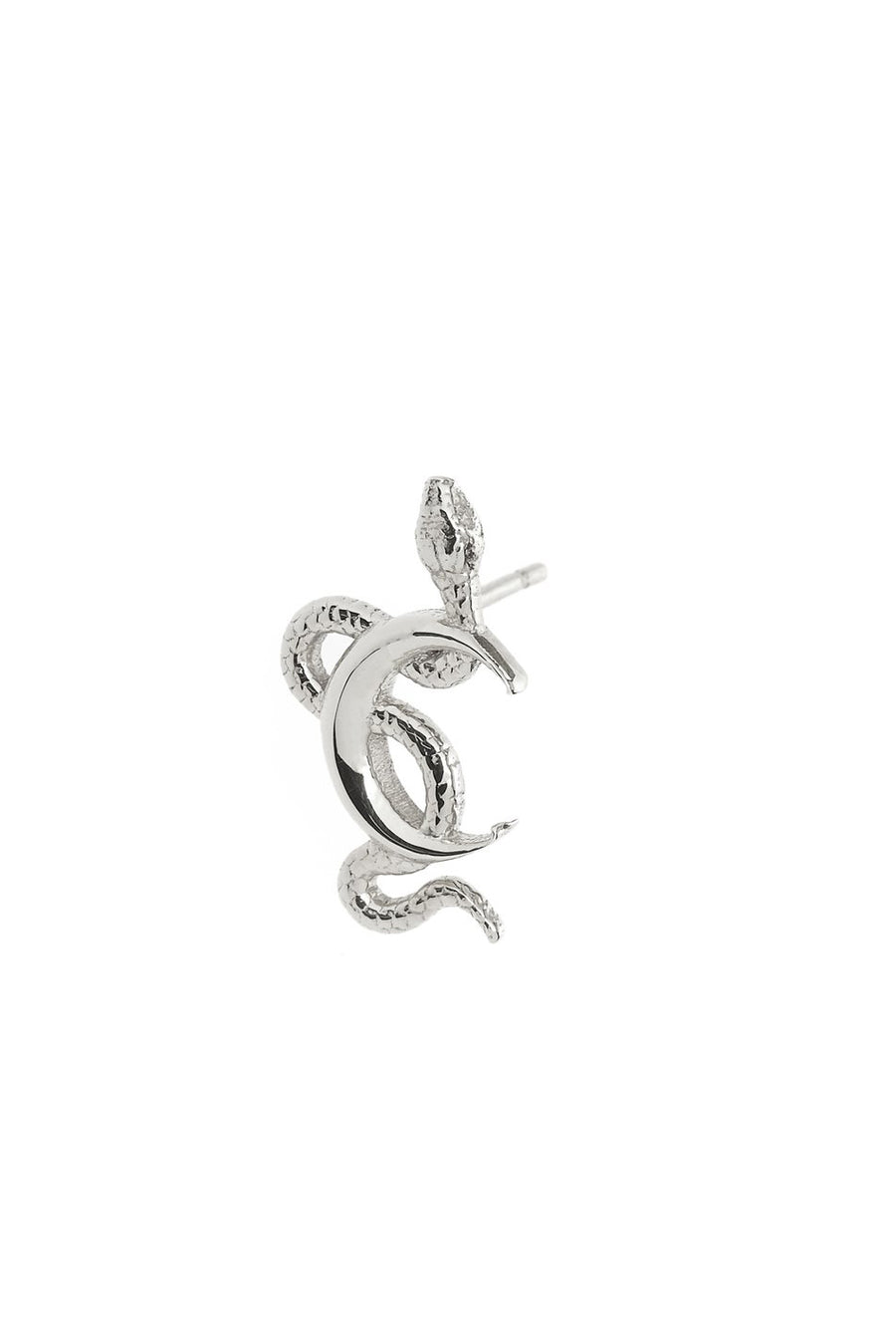 Snake Moon Stud in Sterling Silver