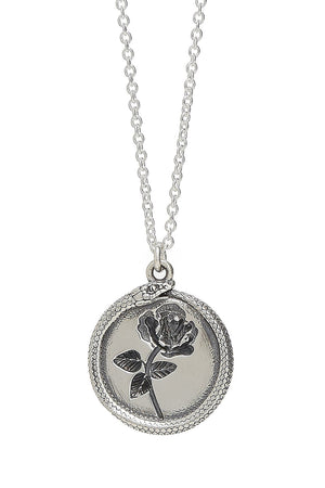 Rose Ouroboros Necklace in Silver