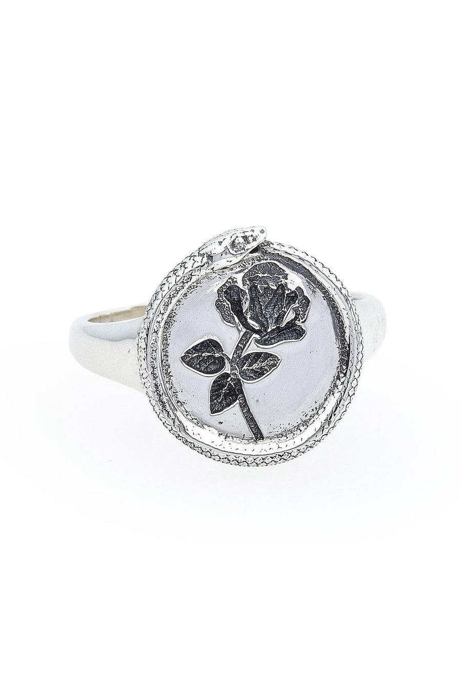 Rose Ouroboros Signet Ring in Silver