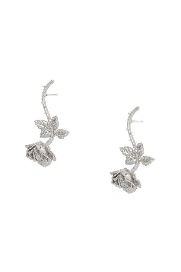 Dangling Rose Stud in Sterling Silver