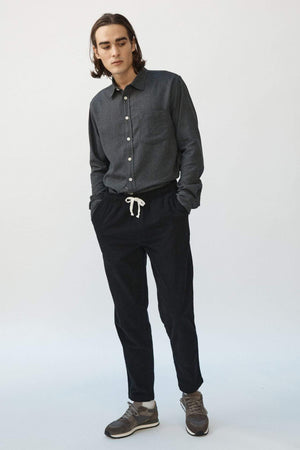 Drawstring Pincord Trousers in Black