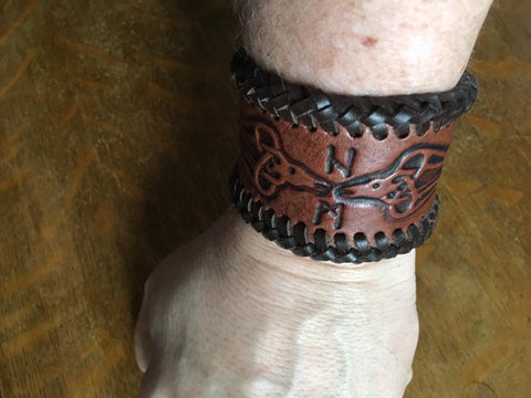 Viking Raven Leather Wrist Band