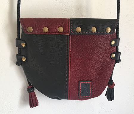 "Black & Red Harlequin ""Heart O' Gold"" Event/Walking Leather Crossbody Bag"