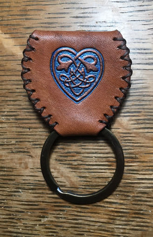Guitar Pick Sporran Key Chain w/Blue Celtic Heart