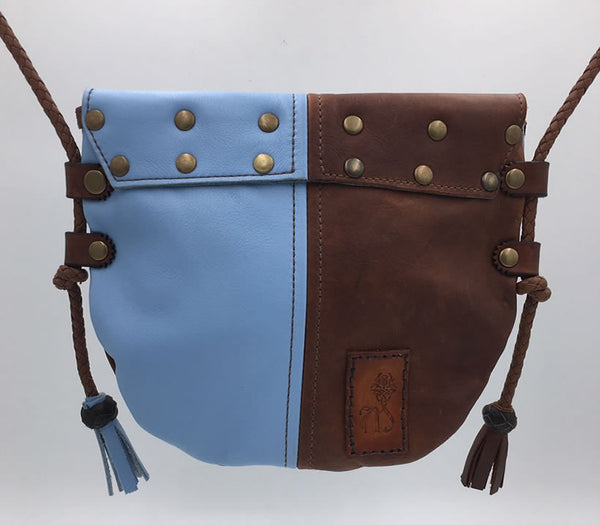 Brown & Skye Blue Harlequin Event/Walking Leather Crossbody Bag, Medium #2