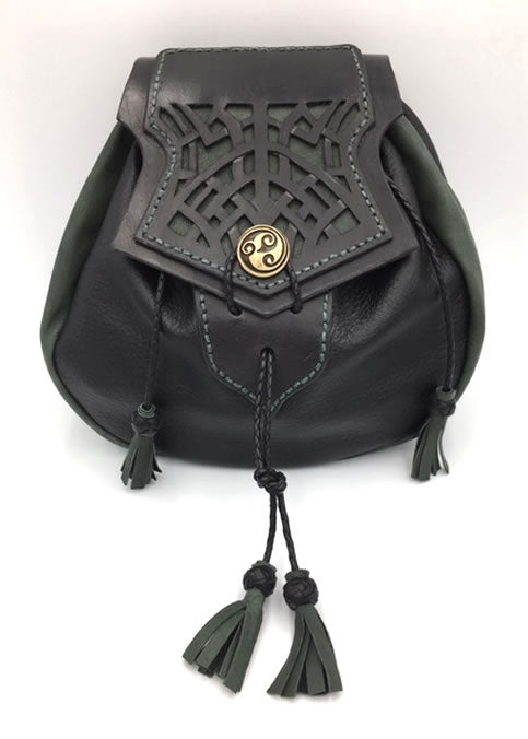 Rob Roy Style Sporran, Sporran Purse with Cut work Celtic Knot Pattern. Black & Lovat Green