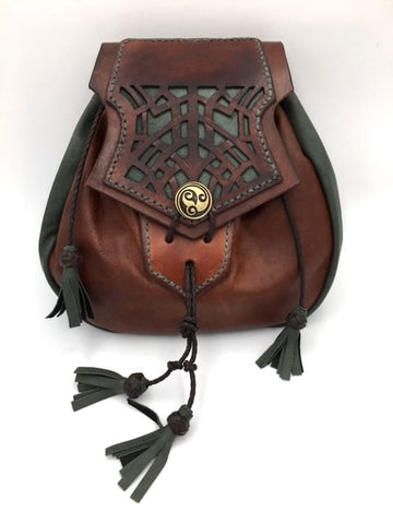 Sporran, Rob Roy Style, Sporran Purse with Cut work Celtic Knot Pattern. Brown & Lovat Green