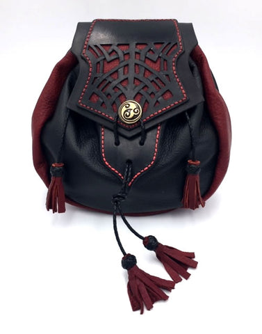 Rob Roy Sporran, Black And Red with Celtic web Cut Work Flap