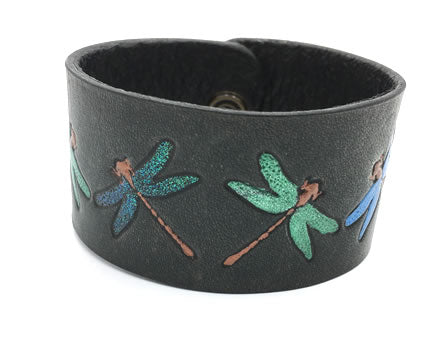 Dragon Fly Hand Painted Black Leather Wrist Band/Cuff