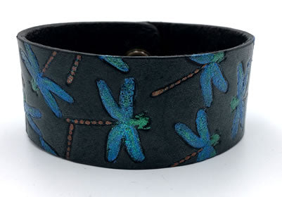 Blue Dragon Fly Flock Hand Painted Black Leather Wrist Band/Cuff