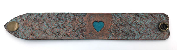 Turquoise & Copper Dragon Heart Leather Wrist Band/Cuff