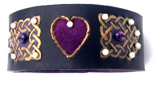 Celtic Black & Purple Heart Leather Wrist Band/Cuff