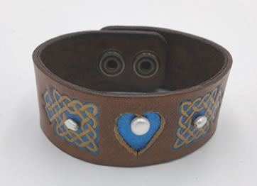 Celtic Tan & Blue Heart Leather Wrist Band/Cuff