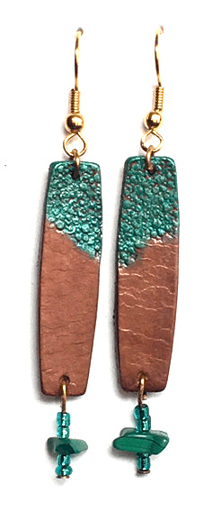 Earth & Skye Leather Earrings w/Malachite 001