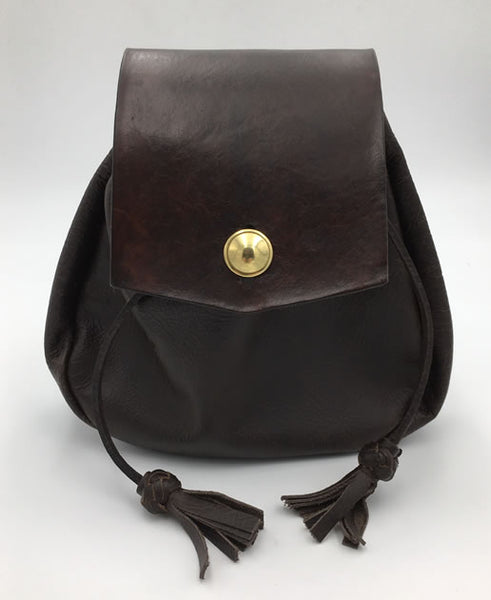 Sporran,  18th Century Styled Rob Roy Style, Brown w/Button Flap
