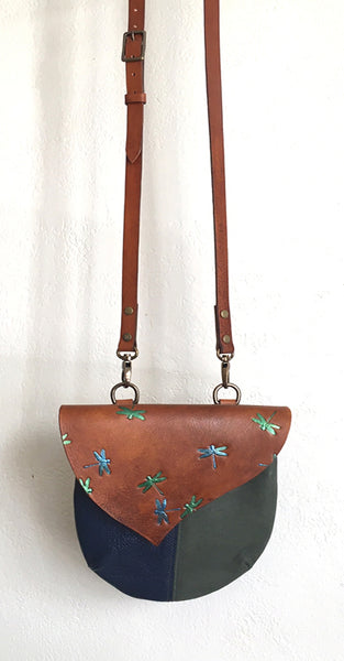 Dragonfly Harlequin Event/Walking Leather Crossbody Bag