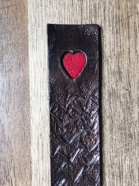 Leather Dragon Heart Bookmark