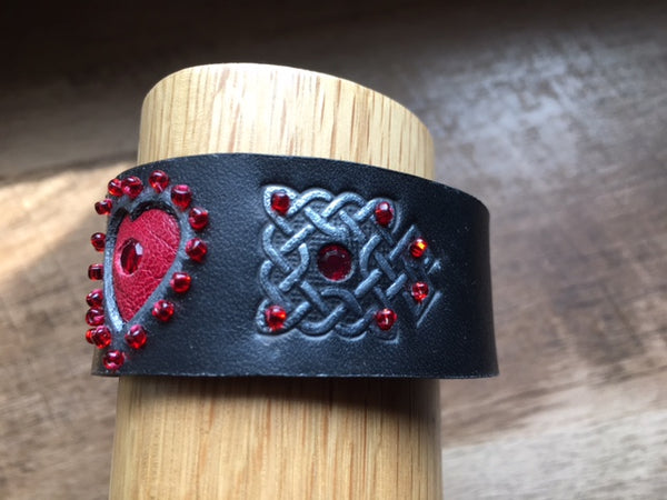 Celtic Black & Red Heart Leather Wrist Band/Cuff #3, with Beads