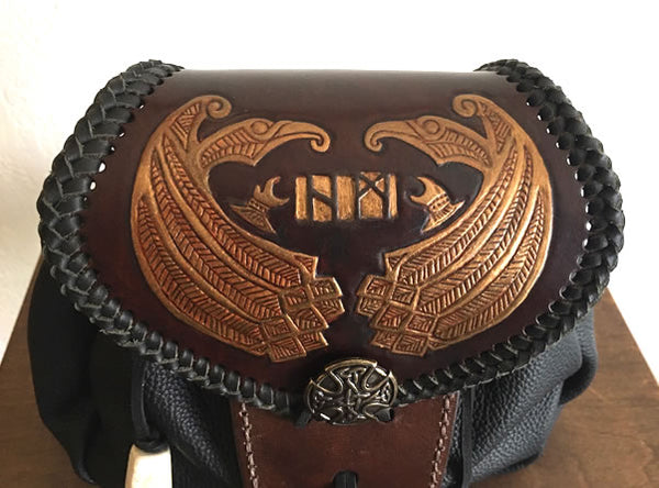 "Sporran,  Rob Roy Style, ""Hugin & Munin"" Black with Hand Tooled Flap"