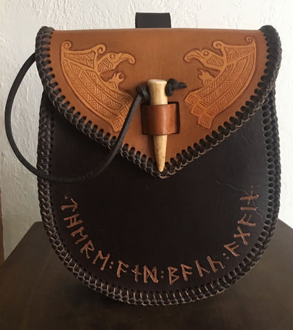Viking/Dwarven Belt Bag Sporran, Huginn & Muginn Tooled Flap