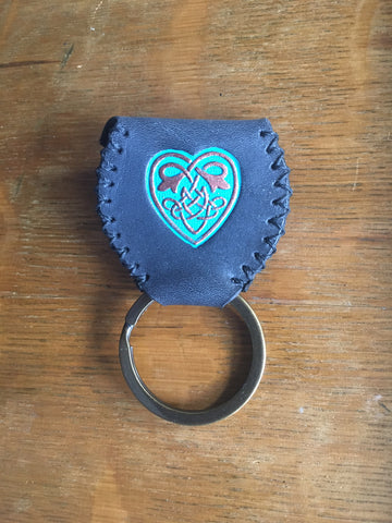 Guitar Pick Sporran Key Chain Black w/Turquoise & Copper Celtic Heart