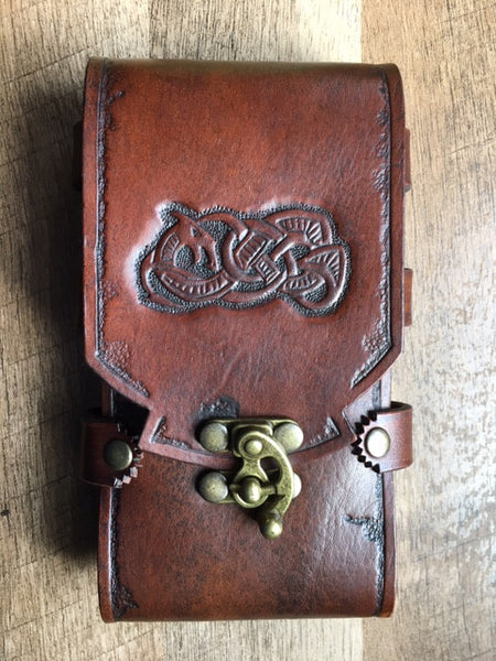 Celtic iPhone 7+/Smart Phone Sporran/Belt Case with Tooled Dragon
