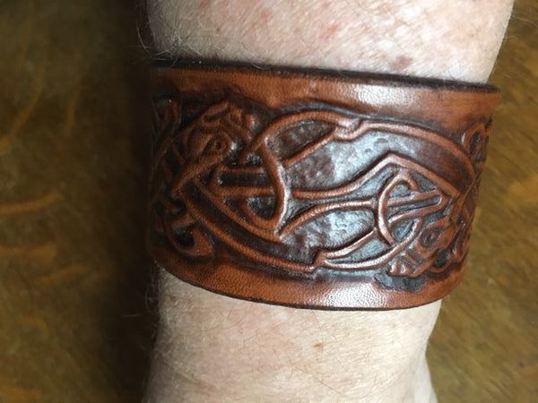Celtic Dogs Leather Wrist Band/Cuff