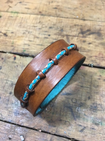 Harlequin Turquoise & Tan Leather Cuff/Wristband