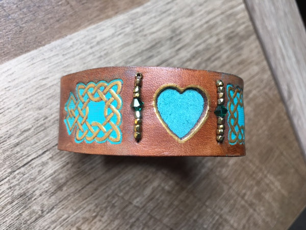 Celtic Turquoise Heart Leather Wrist Band/Cuff #3, with Beads