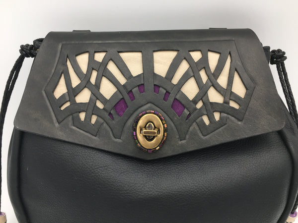 """The Celtic Web"" Cross Body Bag, Black/Ivory/Violet"