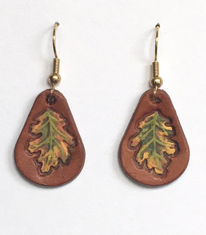 Oak Leaf Leather Earrings