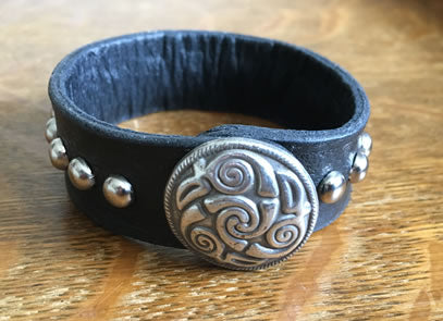 Pictish Black Studded Leather Wrist Band/Cuff with Celtic