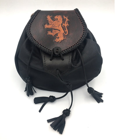 Sporran,  Rob Roy Style, Black with Rampant Lion Flap