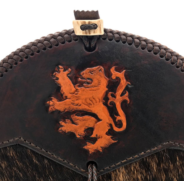 Sporran, Hunting Style, Scottish Rampant Lion Hand Tooling