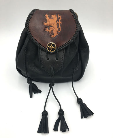Sporran,  Rob Roy Style, Black with Rampant Lion Flap Cowhide Flap Rustic