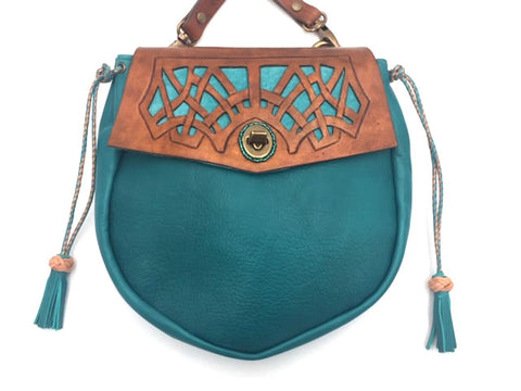"""The Celtic Web"" Cross Body Bag, Turquoise & Tan"