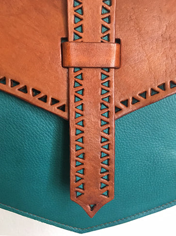 Viking Style Cross Body Bag, Turquoise & Tan