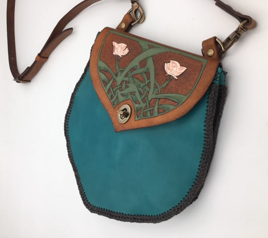Celtic Flowers Turquoise Purse/ Cross Body Bag