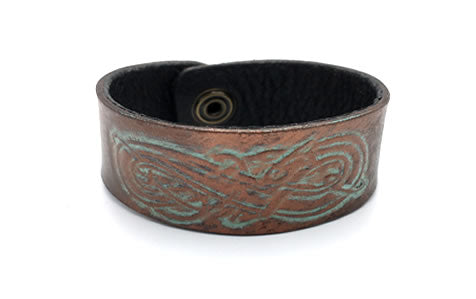 Celtic Tan/Antique Brown/Aged Copper Viking Dragon Leather Wrist Band/Cuff