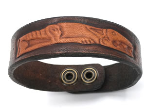 Celtic Tan & Antique Brown Viking Dog Leather Wrist Band/Cuff
