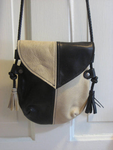 Handmade Black & Bone #1 Harlequin Event/Walking Leather Crossbody Bag