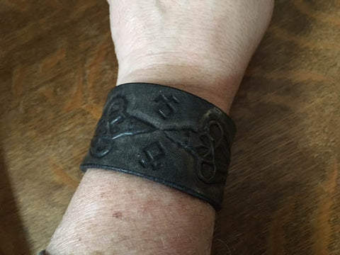 Odin's Ravens Black Leather Wristband