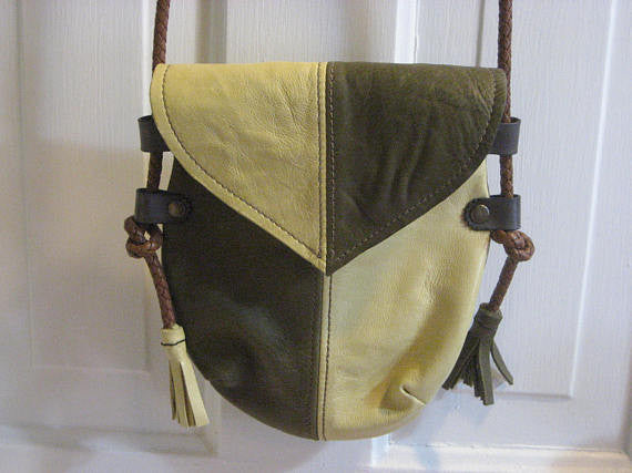 Handmade Yellow & Green Heart Harlequin Event/Walking Leather Crossbody Bag