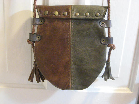 Handmade Brown & Green #2 Harlequin Event/Walking Leather Crossbody Bag