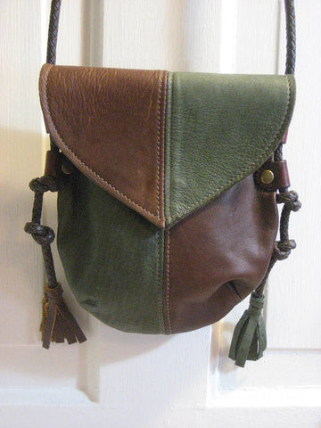 Handmade Brown & Green #1 Harlequin Event/Walking Leather Crossbody Bag