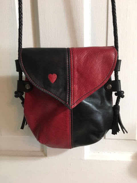 Handmade Black & Red Heart Harlequin Event/Walking Leather Crossbody Bag - Out of Stock