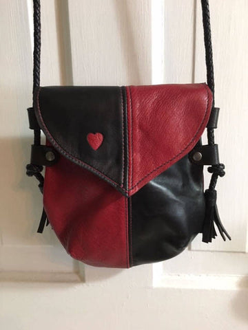 Handmade Black & Red Heart Harlequin Event/Walking Leather Crossbody Bag